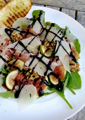 Prosciutto, Figs, Rocket & Walnut Salad with Pecorino & Balsamic Crème
