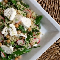 Quinoa & Chickpea Salad with Asparagus and Sugar Snap Peas