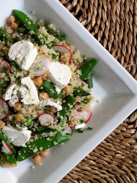 Quinoa & Chickpea Salad with Asparagus and Sugar Snap Peas