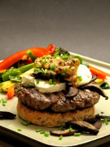 Beef Burgers with Mushrooms, Goat's Cheese & Miso Butter