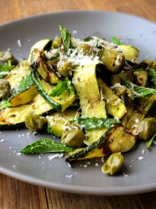 Charred Courgette Ribbons with Capers & Mint